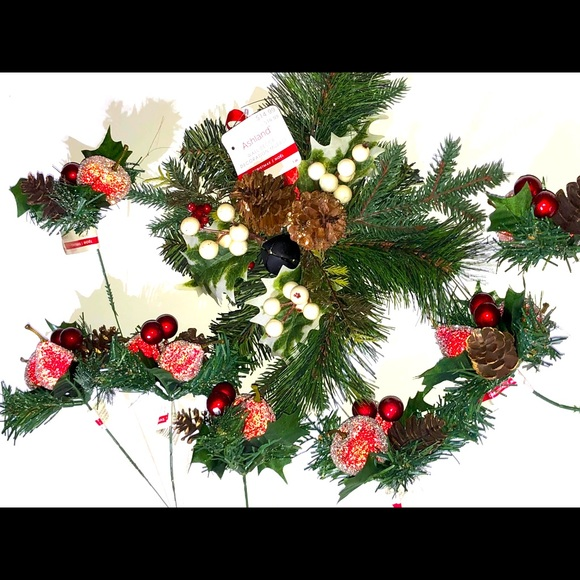 Pine and glitter floral stems Pine wall Hanging